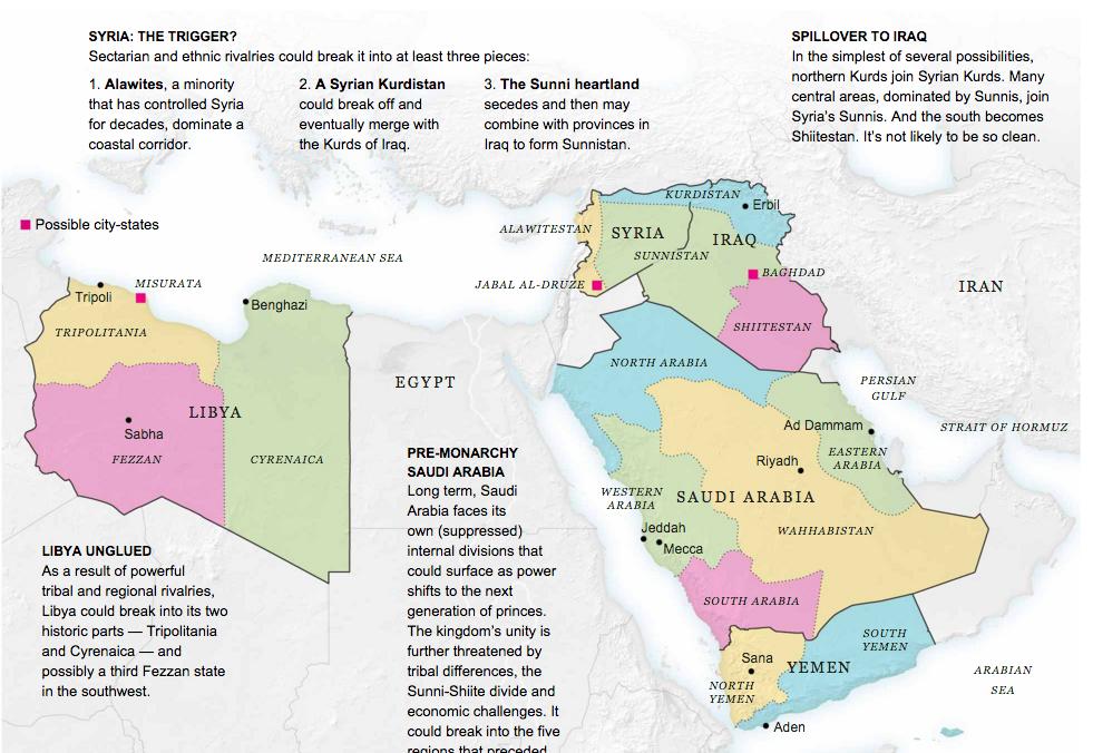 5 buah negara Timur Tengah dipecahkan menjadi 14