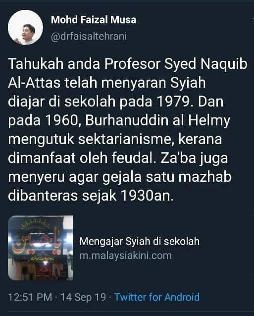Faisal Tehrani fitnah Syed Naquib al-Attas saran ajar Syiah di sekolah